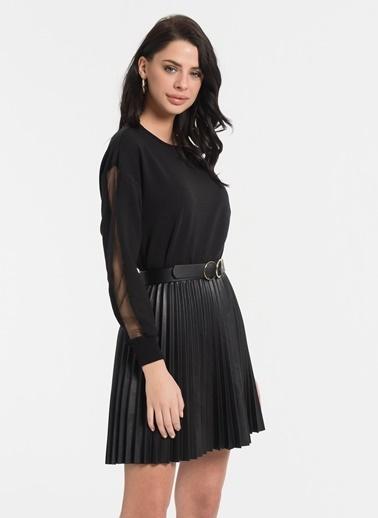 Styletag Kolları Tül Garnili Sweatshirt Siyah